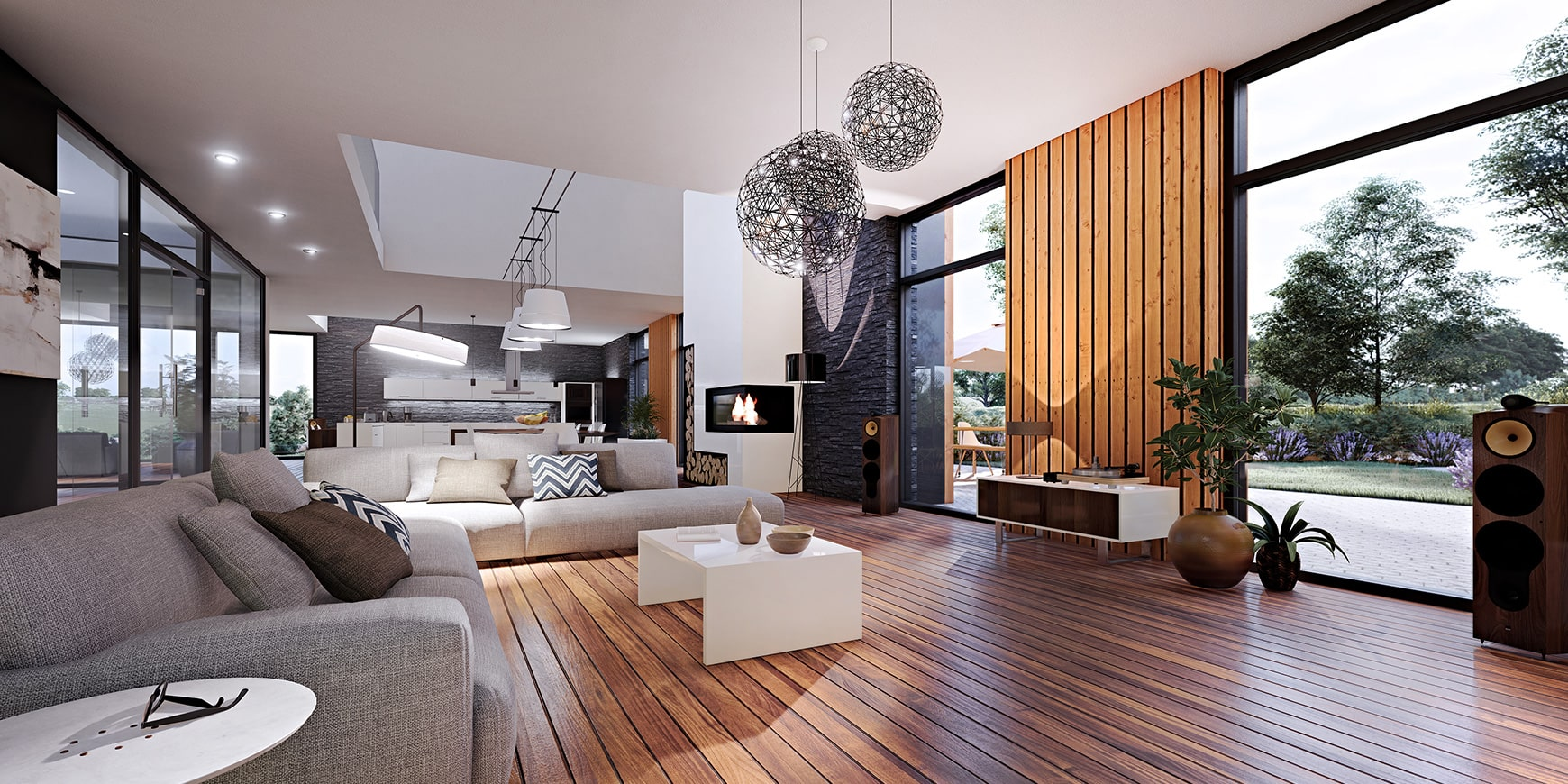 Lounge interior 3D rendering by FSG Design