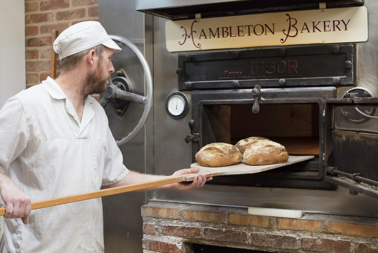 Hambleton Bakery getting bread out of the oven