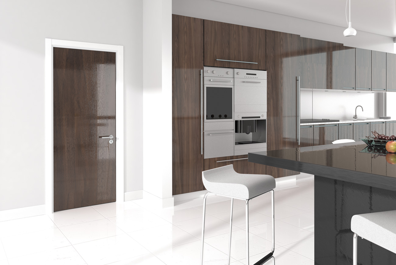 Photorealistic Computer Generated Image of a kitchen interior for Graefe veneer doors