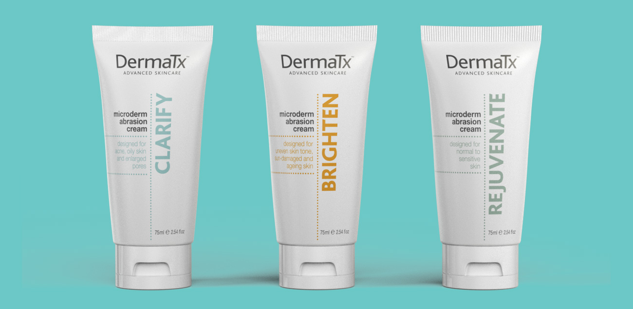 DermaTx Advanced Skincare retail cosemetic packaging design