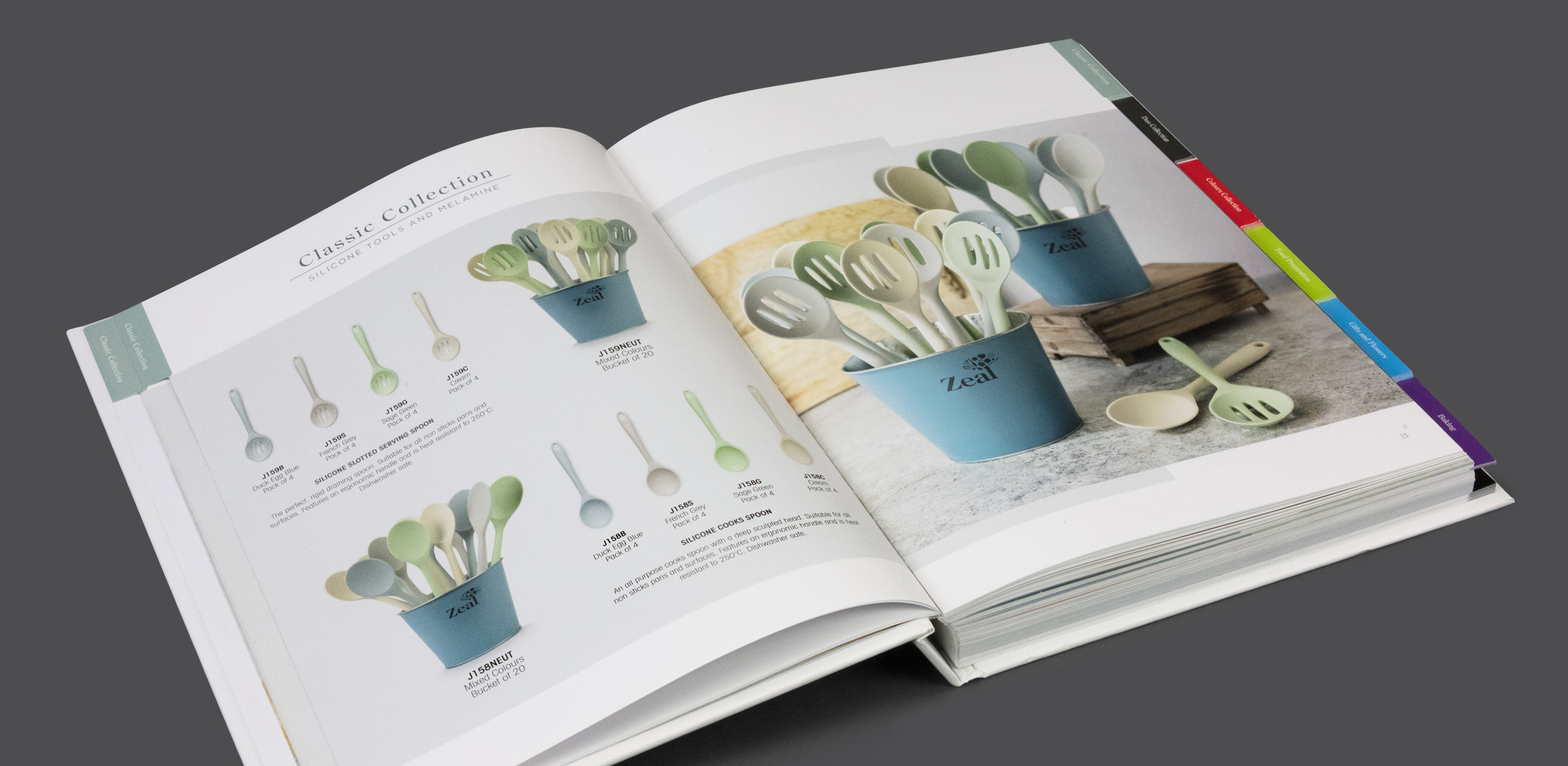Printed product brochure designed for Zeal CKS Kitchenware