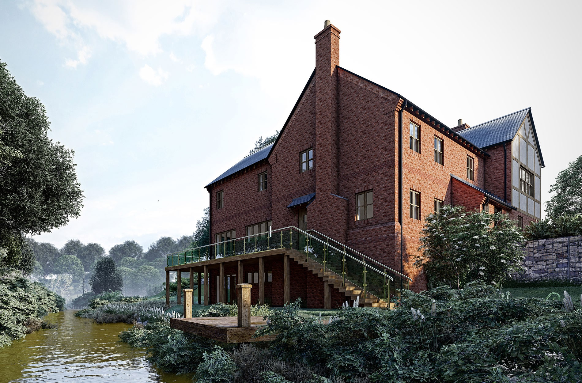 Lumion architectural 3D house by a river rendering by FSG Design