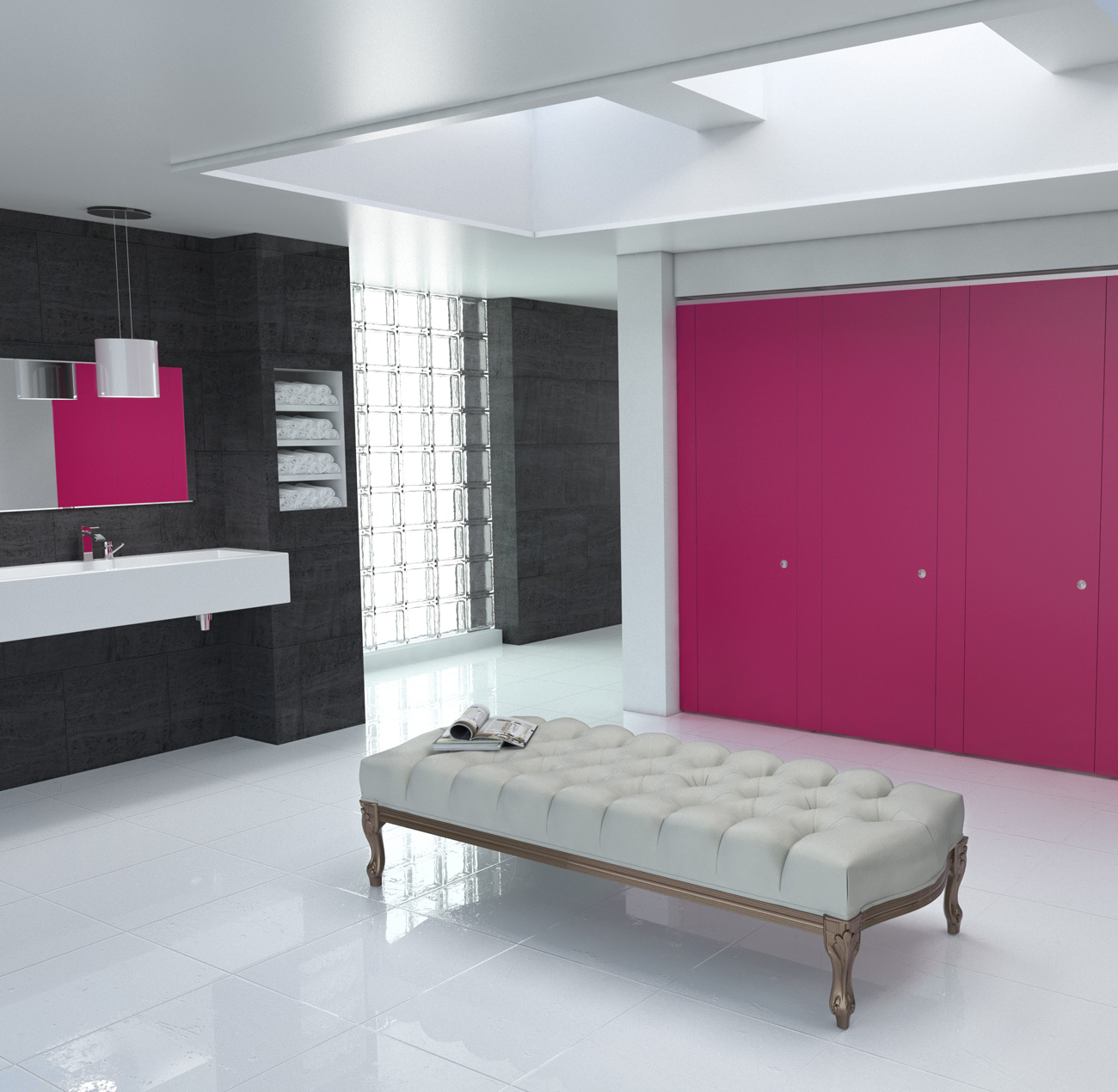 CGI interior rendering for Bushboard Washrooms Definition range