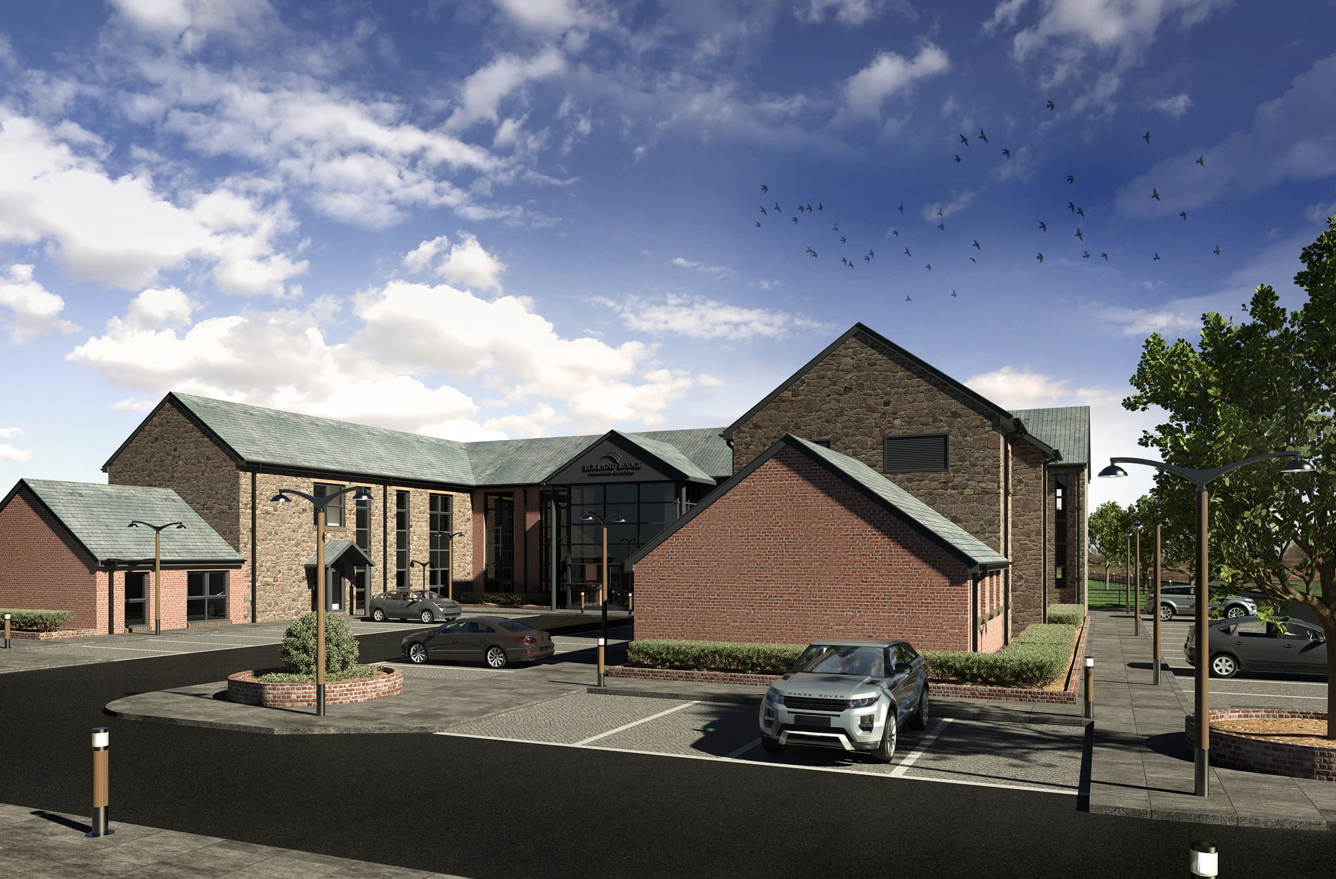 Day time architectural 3D rendering for Eckland Lodge Business Park