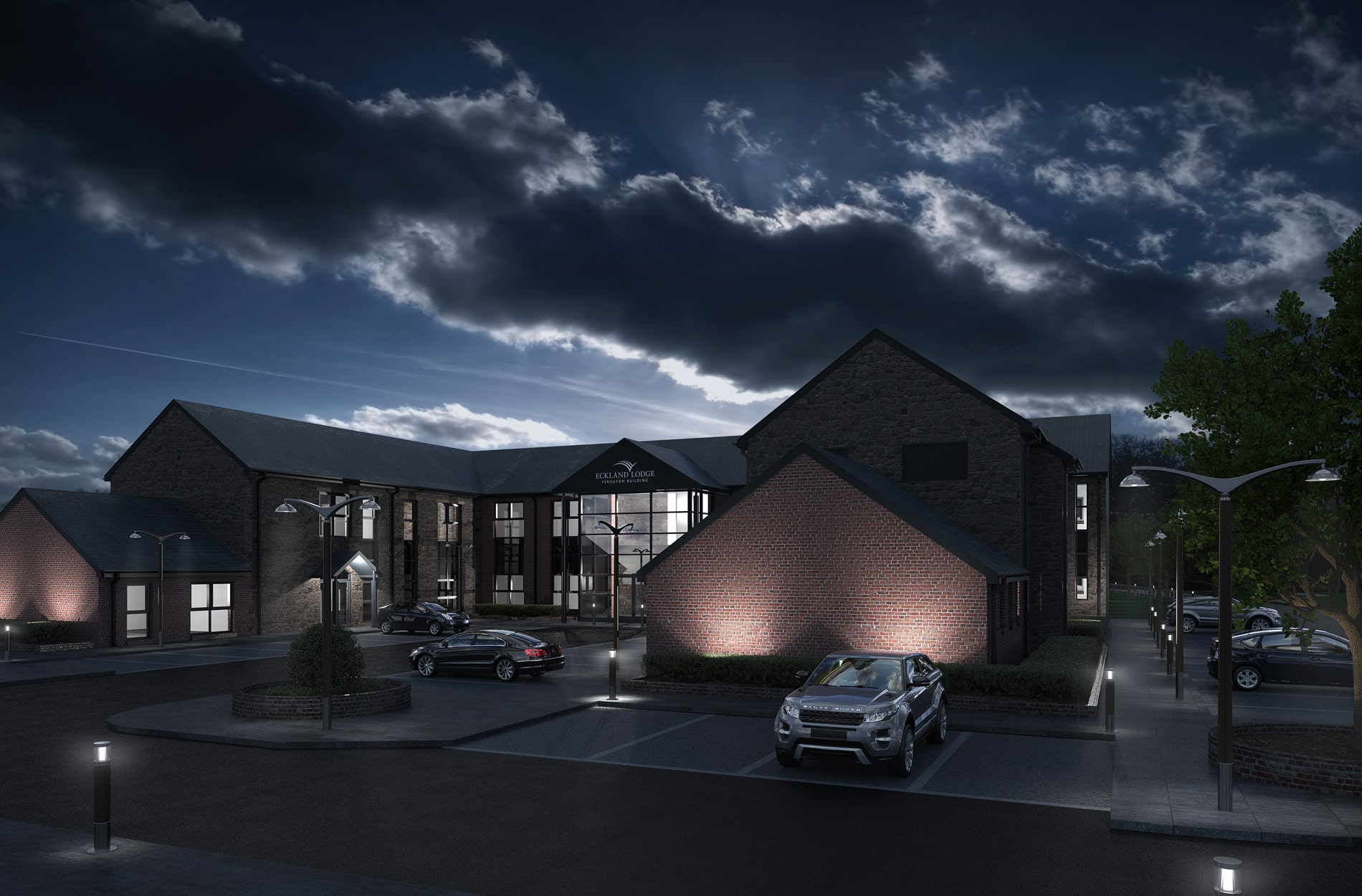 Night time architectural 3D rendering for Eckland Lodge Business Park
