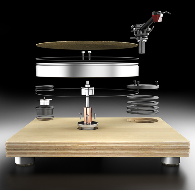 Exploded 3D model of showing separate parts of Analogueworks turntable