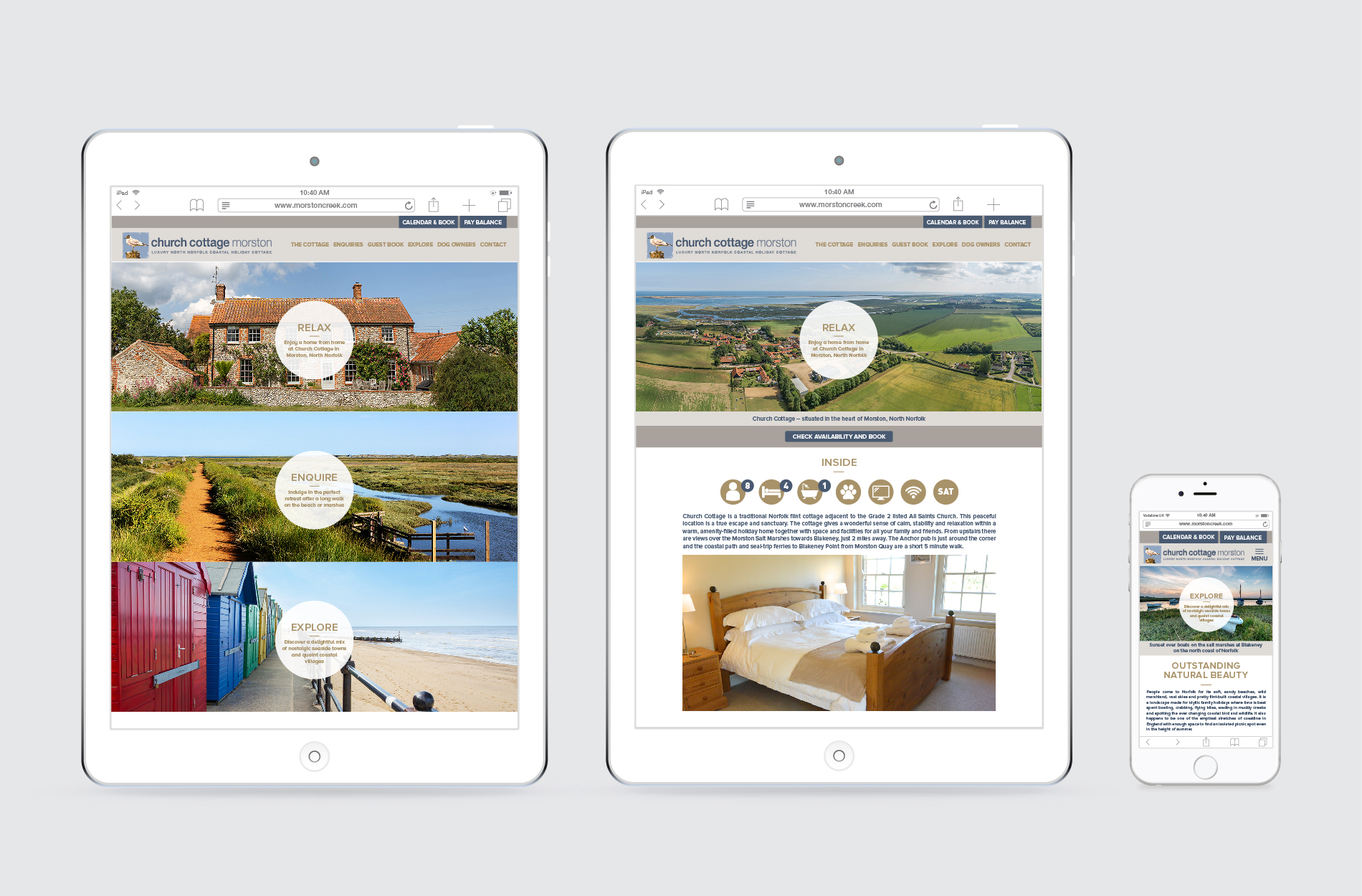 Content managed website for Morston Creek cottage rental property in Norfolk