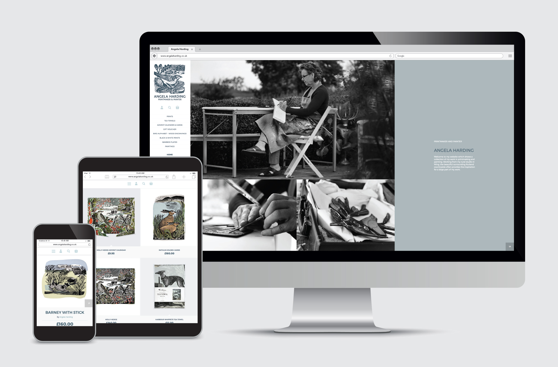 Fully responsive e-commerce website for Angela Harding printmaker and painter