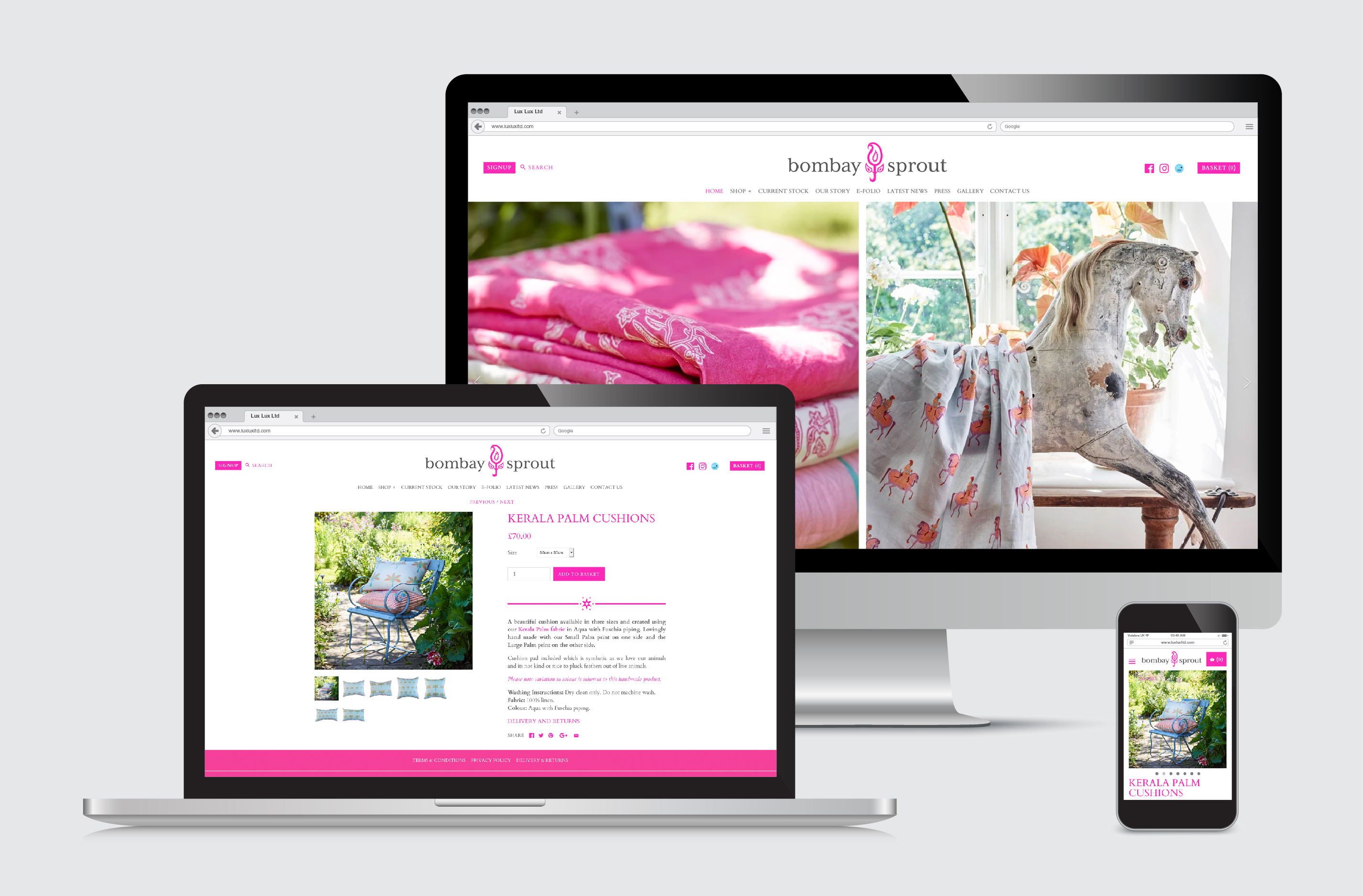 Shopify e-commerce website by FSG Design for Bombay Sprout Indian Dhurries