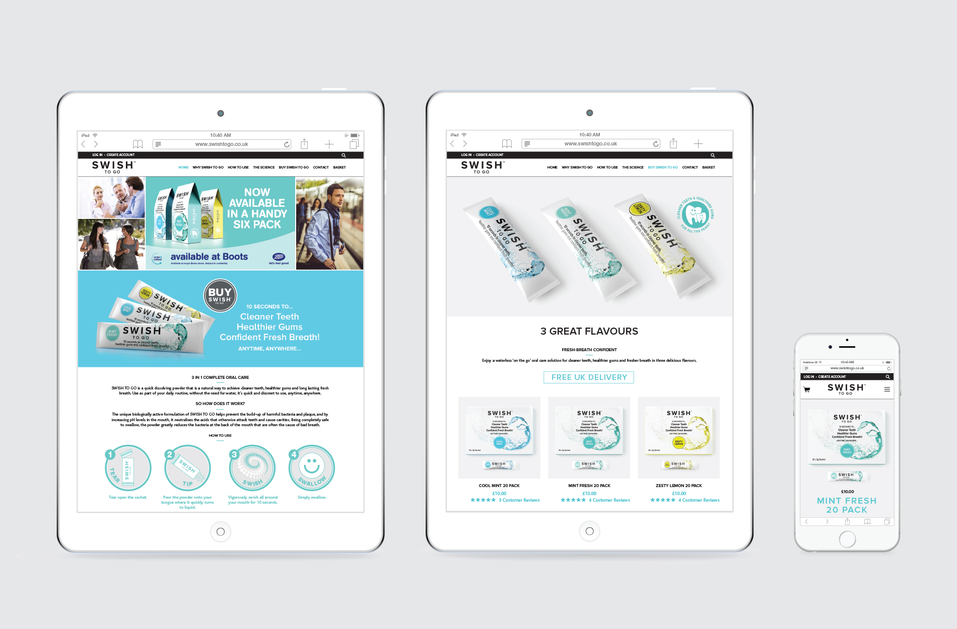 Shopify e-commerce website by FSG Design for Swish To Go mouthwash powder